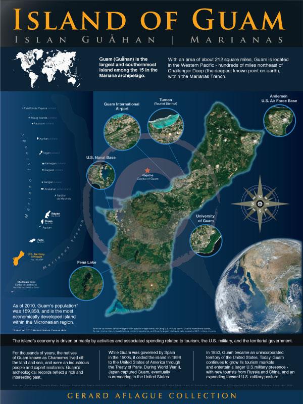 New Guam Satellite Map Illustration